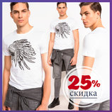 мужская футболка белая De Facto / Де Факто с индейцем на груди