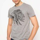 мужская футболка серая DeFacto / Де Факто с индейцем на груди