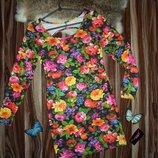 Короткие платья с цветочным принтом и открытой спиной, 50% коттон,50% вискоза