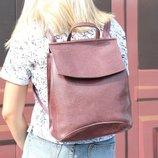 Кожаный рюкзак-сумка трансформер лилового цвета