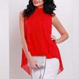 Шифоновая блузка рубашка женская летняя без рукавов креп шифон