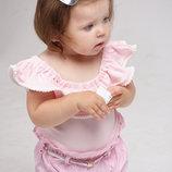 Боди для девочки с воланом, бодик для новорожденных малышек розовый
