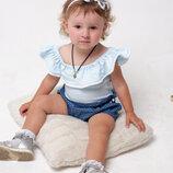 Боди для девочки с воланом, бодик для новорожденных малышек голубой