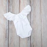 Боди для девочки с воланом, бодик для новорожденных малышек белый
