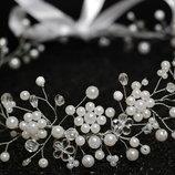 Свадебный венок веночек из бусин, украшение в прическу невесты