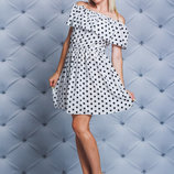 Платье с рюшей короткое Размеры 42-44, 46-48, 50-52 Ткань штапель Штапель мягкая непрозрачна