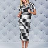 Платье летнее в полоску с разрезом Размеры 42, 44, 46, 48-50, 52-54 Ткань вискоза Вискоза - мате