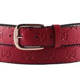 Женский кожаный бордовый ремень