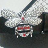 Женский кожаный ремень Gucci, Гуччи Пчела цвет серебро