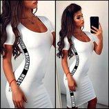 Платье футболка трикотаж летнее черное и белое мини