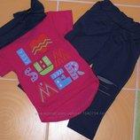 Летний комплект костюм футболка лосины брюки 74-80, 86, 98, 110