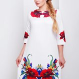 Платье миди белое с красными цветами для пышных дам батал
