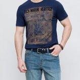 синяя мужская футболка LC Waikiki / Лс Вайкики со бархатным рисунком на груди