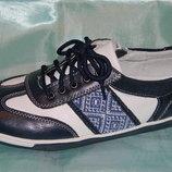 Кожаные кроссовки B&G с молнией и шнуровкой в этно стиле 34р.-39р.