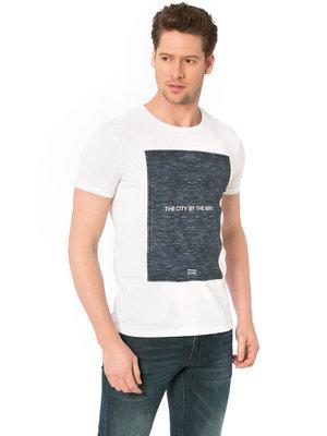 белая мужская футболка LC Waikiki / Лс Вайкики с рисунком и надписью на груди The city by the bay
