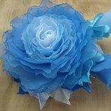 Брошь Голубая роза из шифона, цветы из шифона