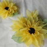 Заколка Подсолнух из шифона и атласных лент ручной работы, брошь, цветок на руку