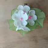 Заколка Букет Дюймовочки, цветы из шифона ручной работы