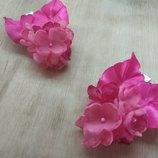 Заколка Гортензия маленькая цветы из шифона и атласных лент