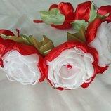 Обруч, ободок с цветами из шифона и атласных лент ручной работы, веночек