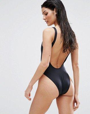 a9164ad17424e Новый идеальный черный слитный купальник с овальным вырезом по спинке asos.  Previous Next
