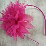 Обруч Георгин малиновый, цветы из шифона и атласных лент, ободок, веночек