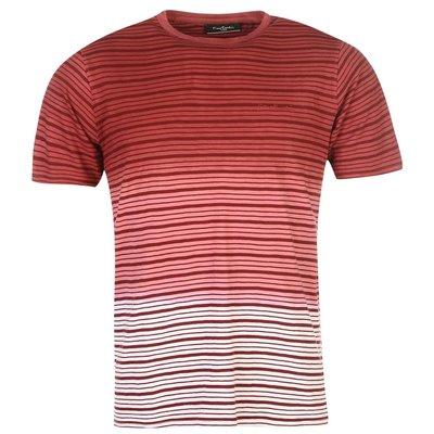Мужская футболка хлопок Pierre Cardin Оригинал Винно красный цвет Полоска