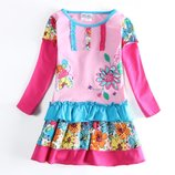 Платье розовое TM Nova цветы, бабочки