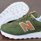 Женские кроссовки New Balance 574. В зеленом хаки цвете. Доставка. 36-40