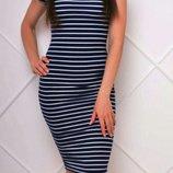 Актуальное платье миди рибана в полоску,платье тельняшка 46-48