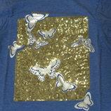 Футболка с бабочками на 7-8 лет Crazy 8 паетки, серебряная печать