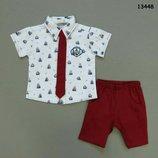 Костюм летний нарядный, расцветки, тройка на мальчика, Рубашка, шорты и галстук, Турция, р.86-92-98