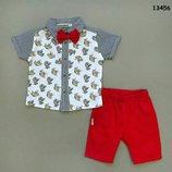 Костюм летний нарядный, расцветки, Тройка на мальчика, Рубашка, шорты и бабочка, р.74-80-86-92-98