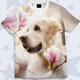 Великолепная 3d футболка Пёс в цветах
