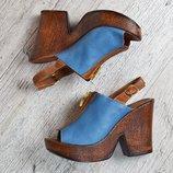 Босоножки кожаные La Vita Bella Турция на танкетке сине коричневые женские