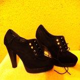 Шикарные замшевые ботильоны-туфли New Look