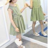 Легкое, летнее платье, оливковое, р. 110, 130, 140 см