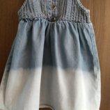Джинсовый сарафанчик M&S на девочку 3-6 месяцев в идеальном состоянии