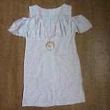 Белое платье в горошек с воланом, батист, хлопок,на рост 128, 134