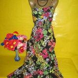 Пёстрое летнее платье-миди от g 21 George из натуральной ткани