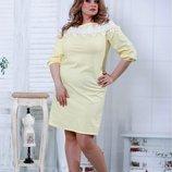 Красивое желтое платье с кружевом 42-74р