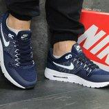 Nike Air Max 1 Flyknit кроссовки тёмно синие с белым 5290