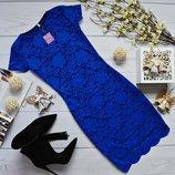Гипюровое платье с короткими рукавами код 990
