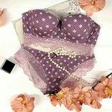 Кокетливый комплект нижнего белья Weiyesi с лифом бюстье-анжелика в бордовом цвете.