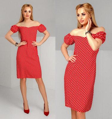 d9864e6044c32ea Женское летнее стильное платье средней длины 1184 Штапель Горошек Плечи  Фонарики