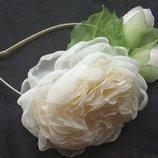 Обруч Английская роза , ободок, веночек, цветы из шифона