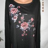 Тонкая блуза с длинным рукавом принт розы new look