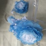 Обруч Голубая роза из шифона и атласных лент, ободок, веночек