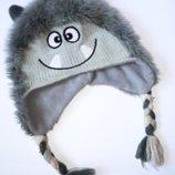 Демисезонная шапка Mothercare 1-3г на флисе Монстр