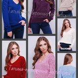 44-48 Свитер вязаный. шерсть, акрил, женский джемпер, ажурная спинка, весенний свитер